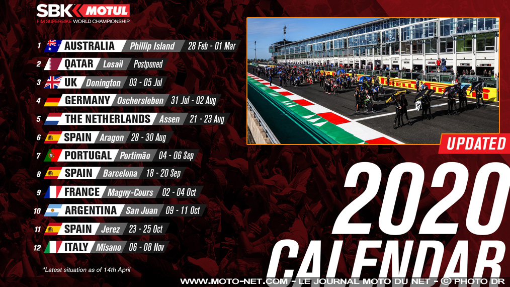 Calendrier 2020 des courses World Superbike et World Supersport