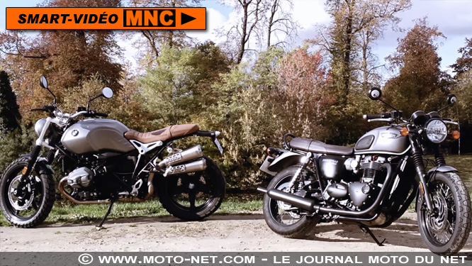 En direct du duel Bonneville T120 Vs R nine T Scrambler : moteurs !