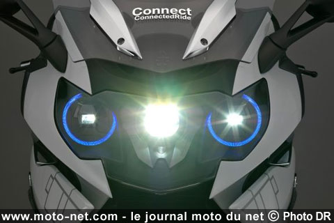 high tech bmw pr pare un clairage laser pour moto et un casque affichage t te haute. Black Bedroom Furniture Sets. Home Design Ideas