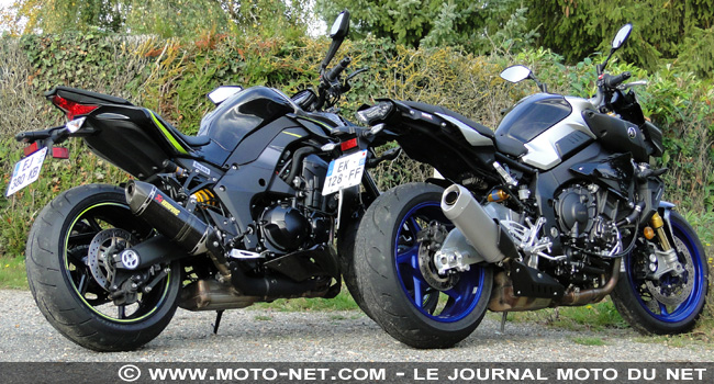 tous les duels duel yamaha mt 10 sp vs kawasaki z1000r monstrueuses. Black Bedroom Furniture Sets. Home Design Ideas