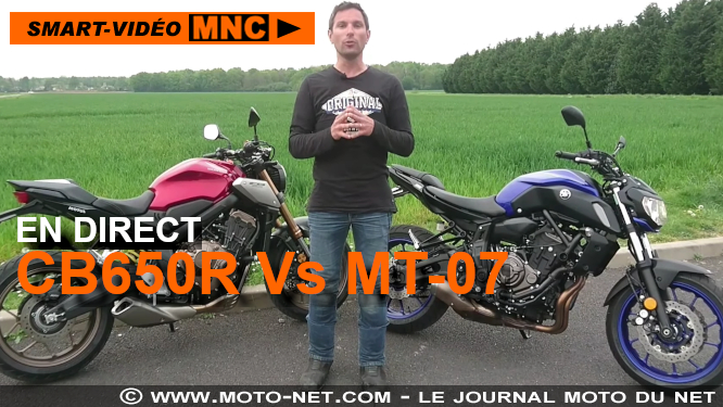 Smart-vidéo en direct : Duel Honda CB650R Vs Yamaha MT-07