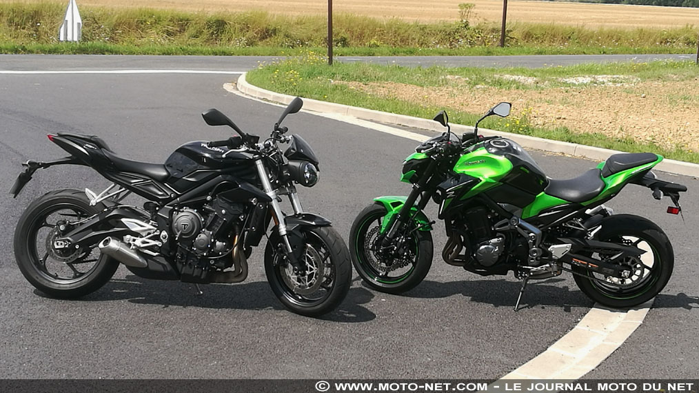 Duel roadsters sur MNC : Z900 contre Street Triple S