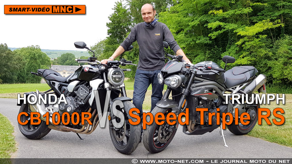 Smart vidéo en direct de notre Duel CB1000R Vs Speed Triple RS